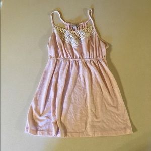 Pink tank top with lace detail
